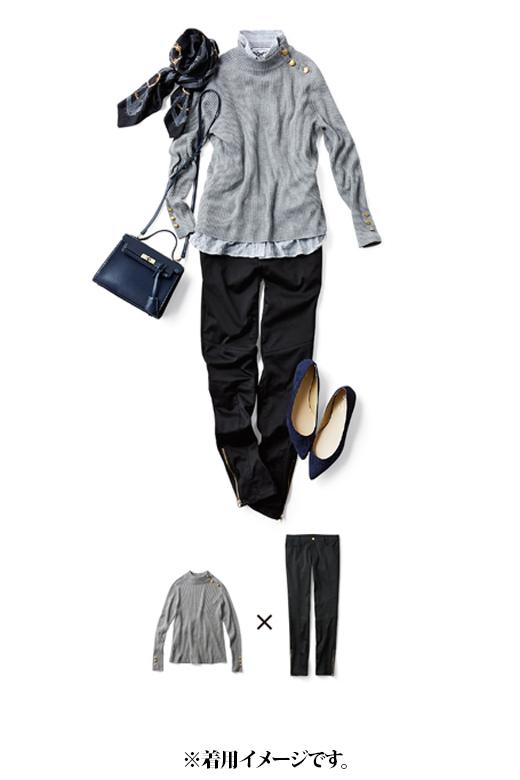 これは参考画像です。ハイネック×シャツのレイヤードスタイルも素敵。小物はダークカラーでまとめてモードな印象に。