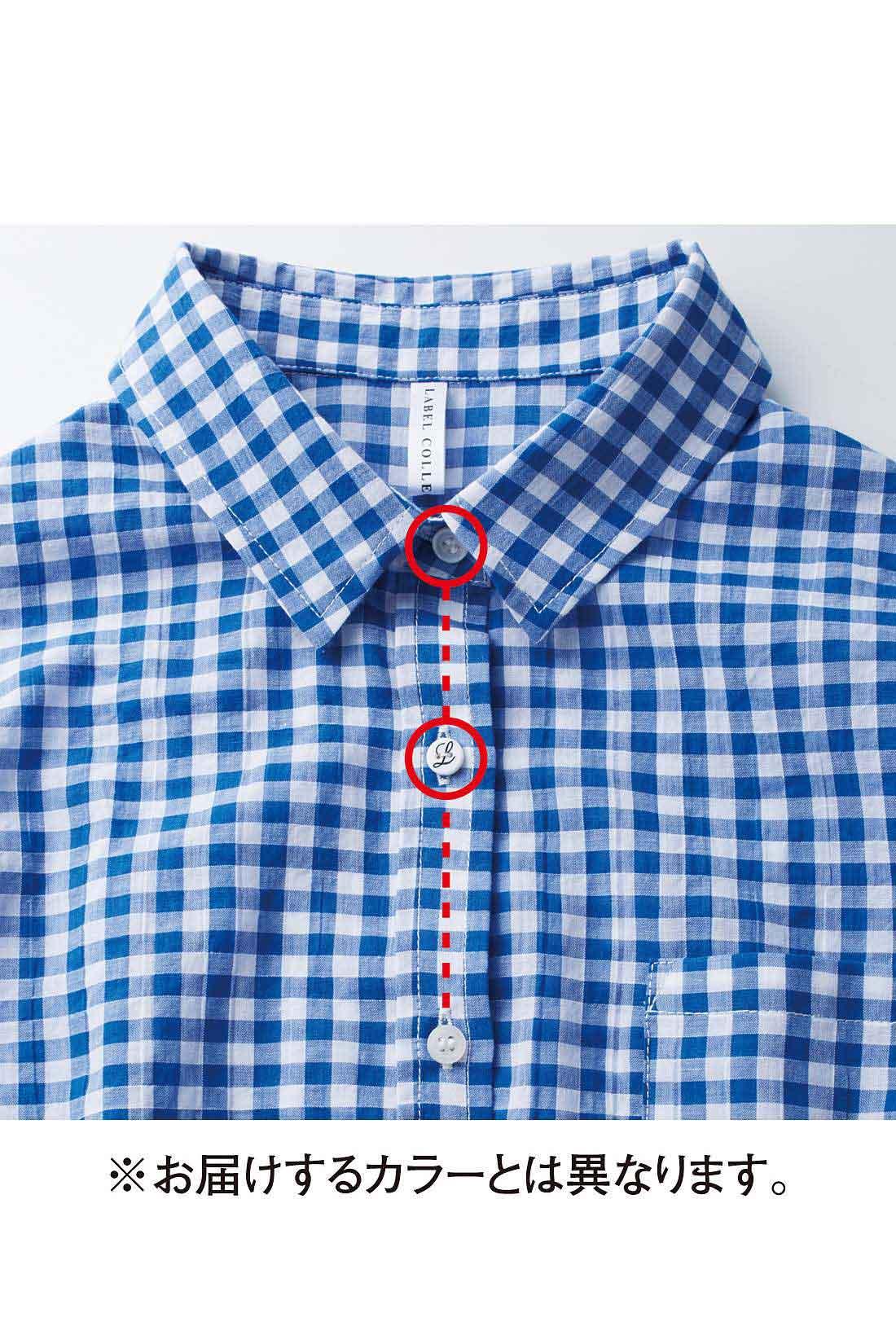 第二ボタンまで開けてかっこよく着られるように、絶妙なボタンの距離感も計算済み。 ※お届けするカラーとは異なります。