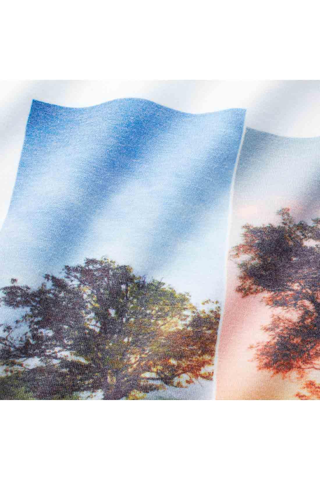 鮮明で美しいインクジェットプリント。顔料プリントに比べ繊細で自然な風合いの仕上がりに。