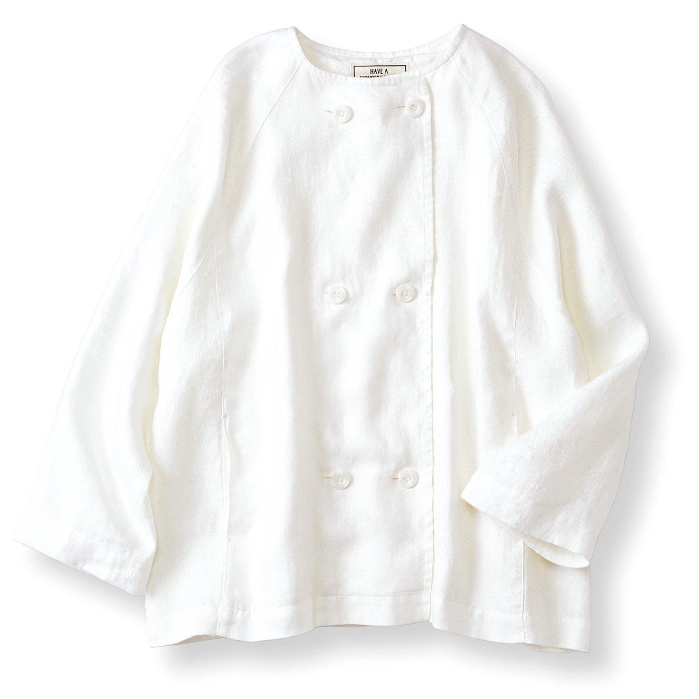【3~10日でお届け】リブ イン コンフォート はまじとコラボ 洗いをかけた軽い着心地のこなれ麻ジャケット〈ホワイト〉