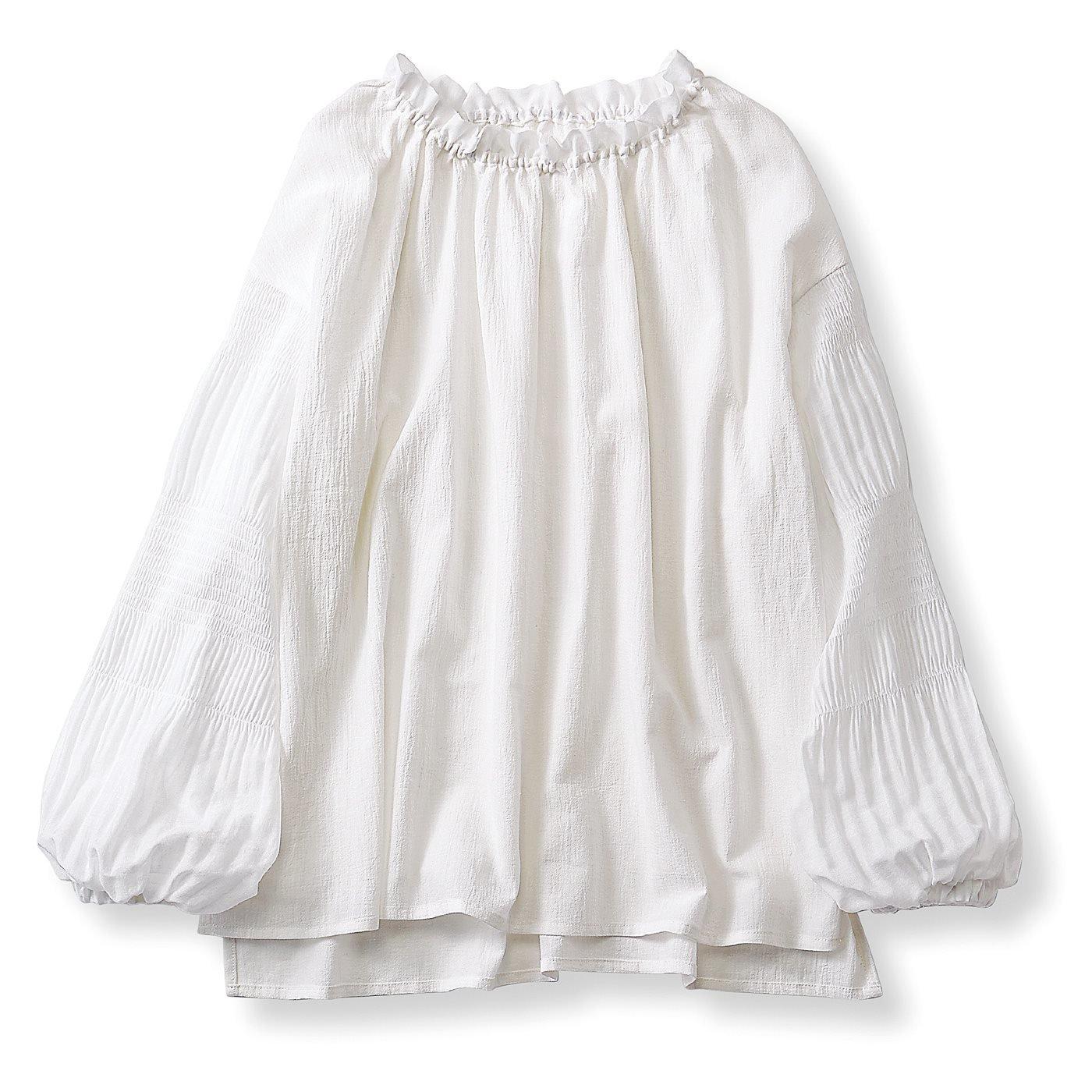【3~10日でお届け】リブ イン コンフォート 衿ぐり伸びてサッと着やすい マジョリカプリーツをあしらったブラウス〈スノーホワイト〉