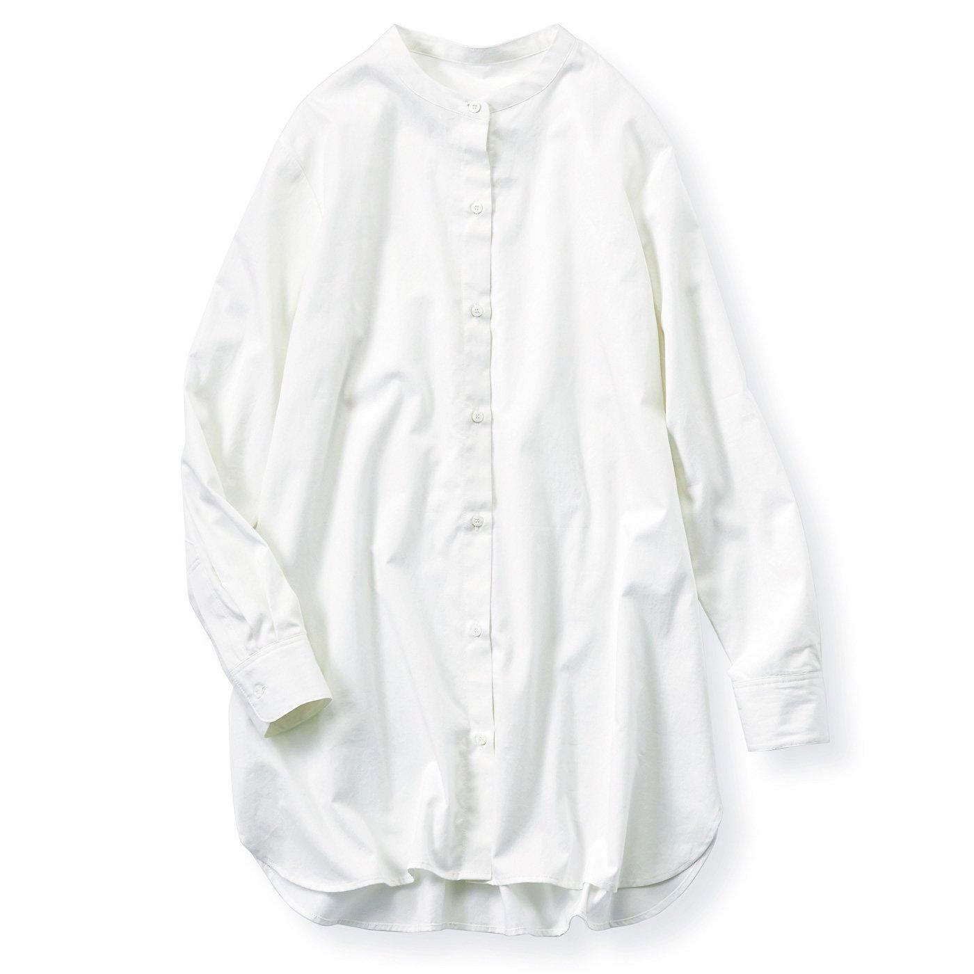 リブ イン コンフォート 栞里ちゃんとつくった 綿100%がうれしい バンドカラーで首もとすっきりさわやか シャツチュニック〈ホワイト〉