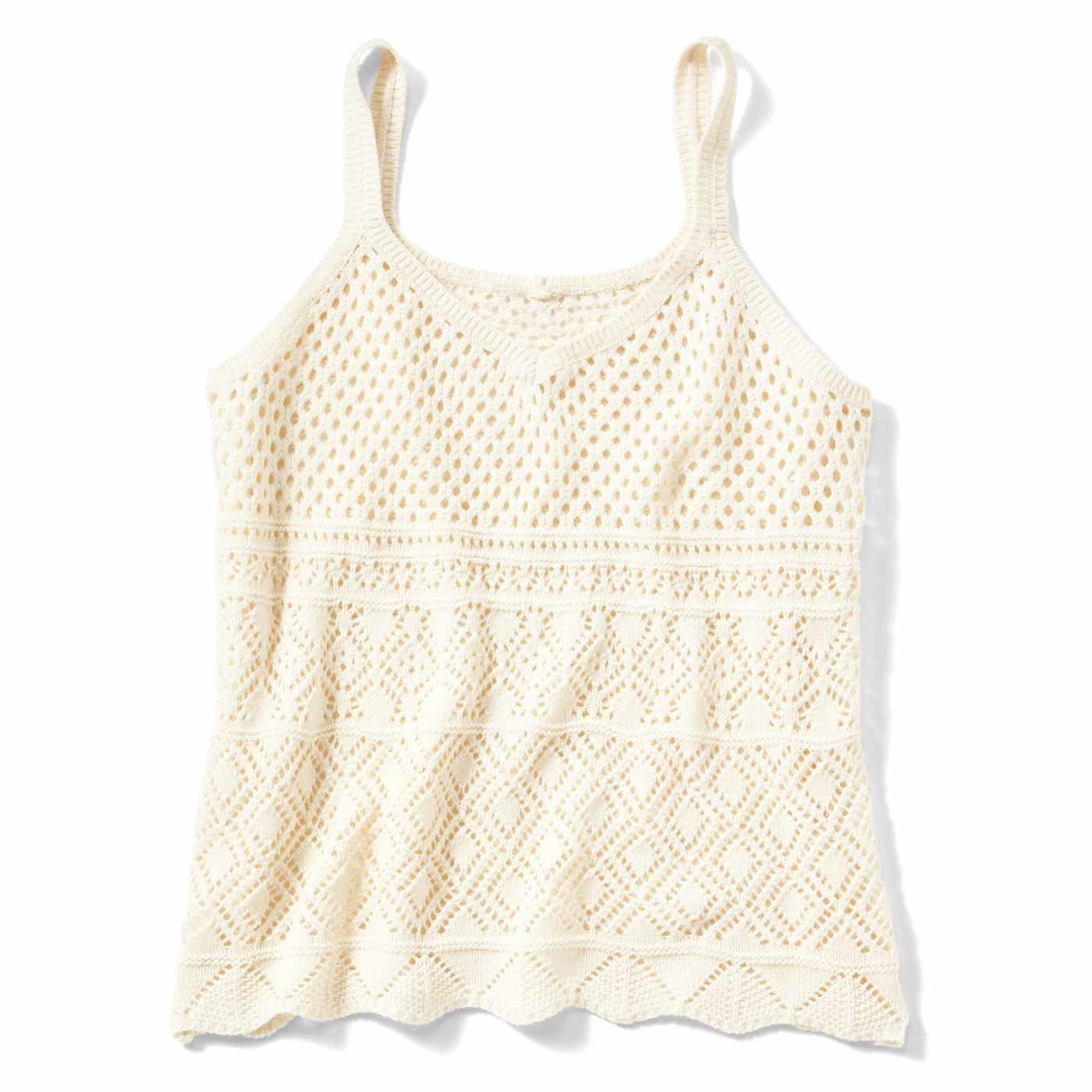 リブ イン コンフォート ふわっと重ねてTシャツコーデを新鮮にする 綿ニットキャミソール〈オフホワイト〉