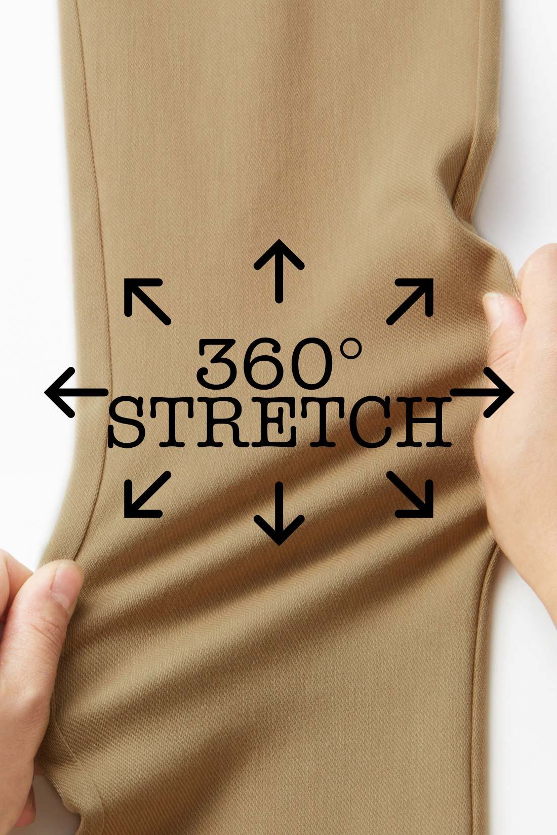 360°ストレッチでひざも太ももものびのびらくちん。 ※お届けするカラーとは異なります。