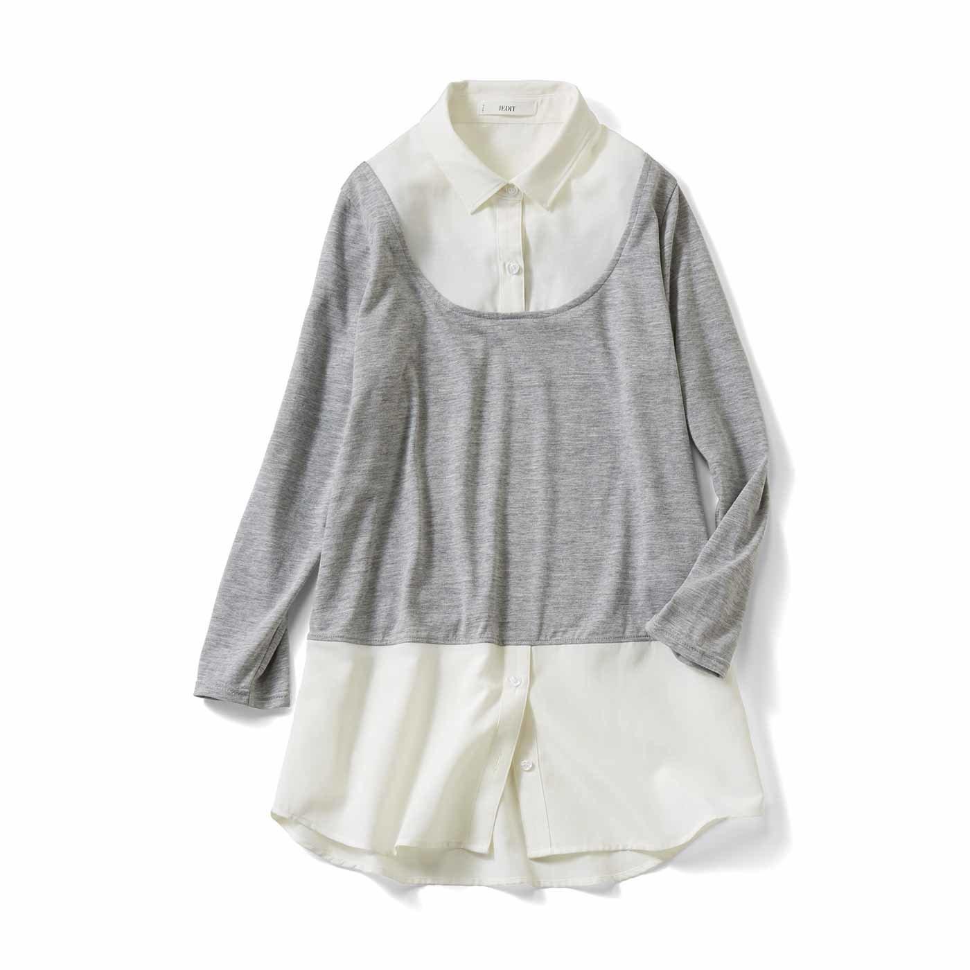IEDIT[イディット] 着こなしにプラス シャツ衿付きレイヤードカットソートップス〈ホワイト〉