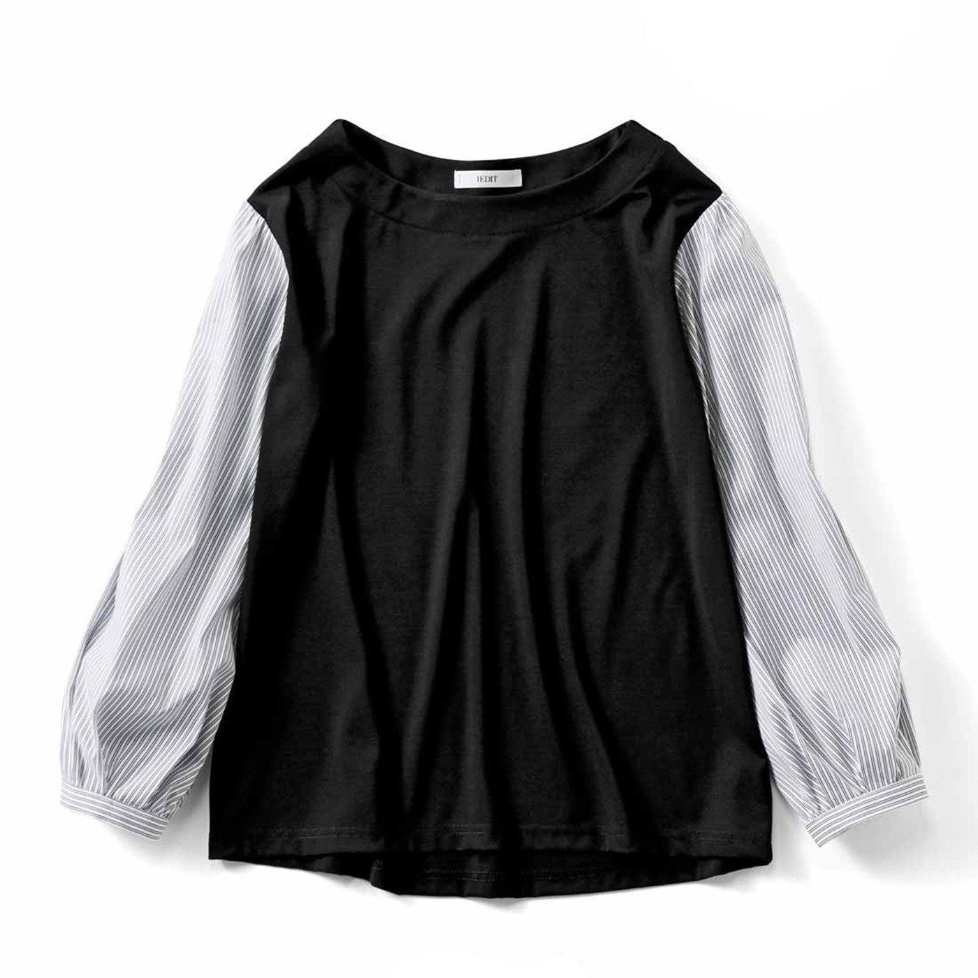 IEDIT[イディット] Tシャツ以上ブラウス未満のドッキングトップス〈ブラック〉