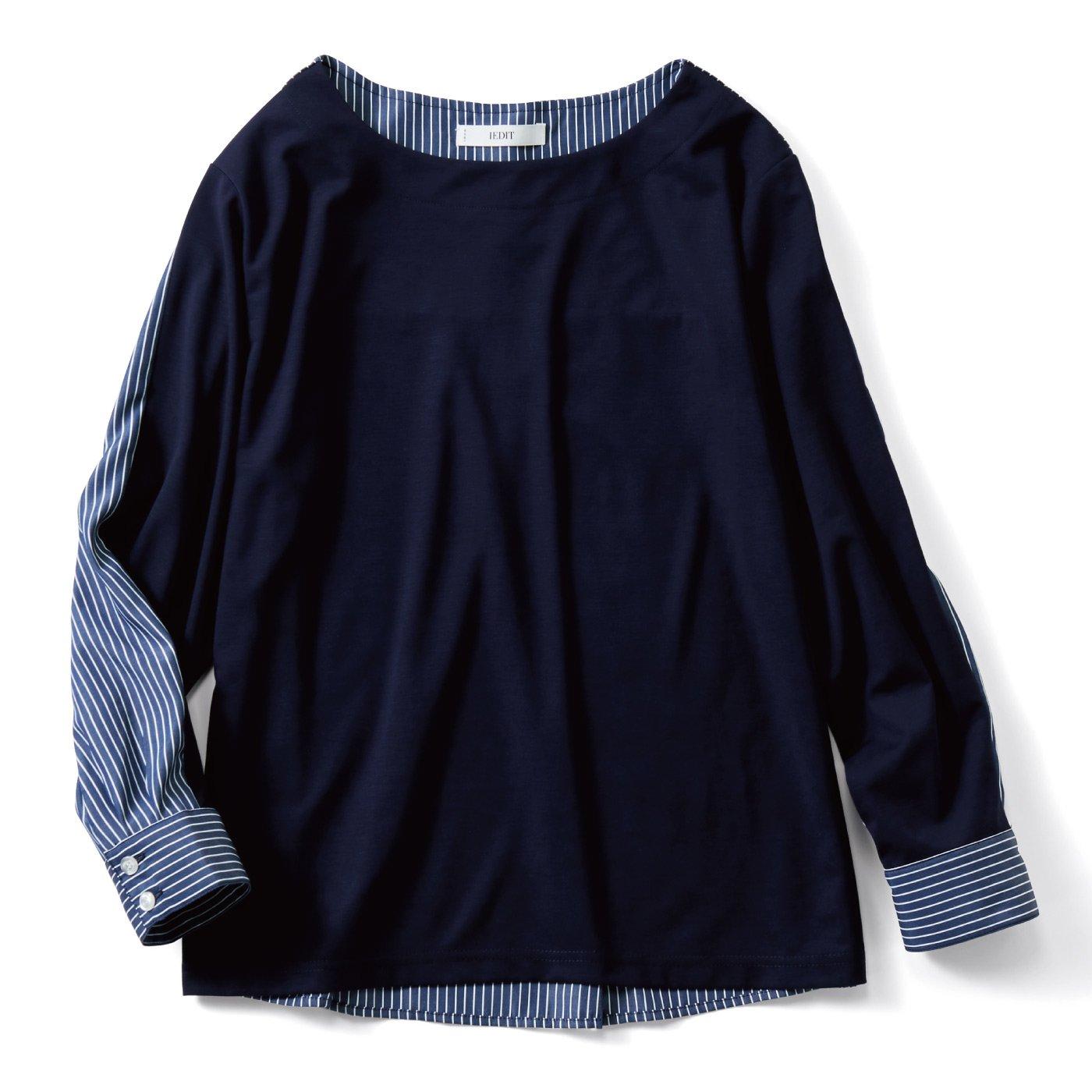 IEDIT[イディット] Tシャツ以上ブラウス未満のドッキングトップス〈ネイビー〉