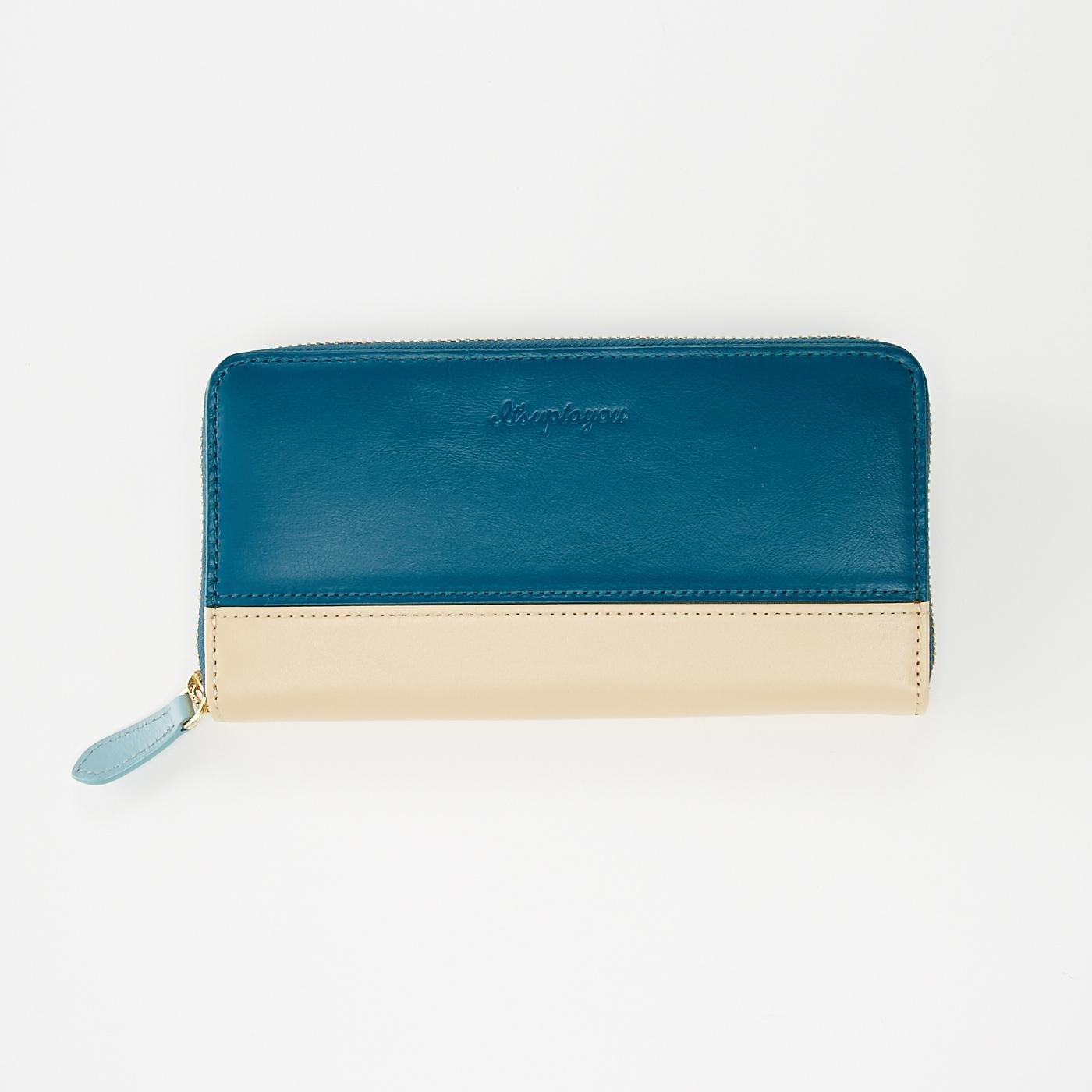 愛しい時を育てる 本革長財布 ブルー