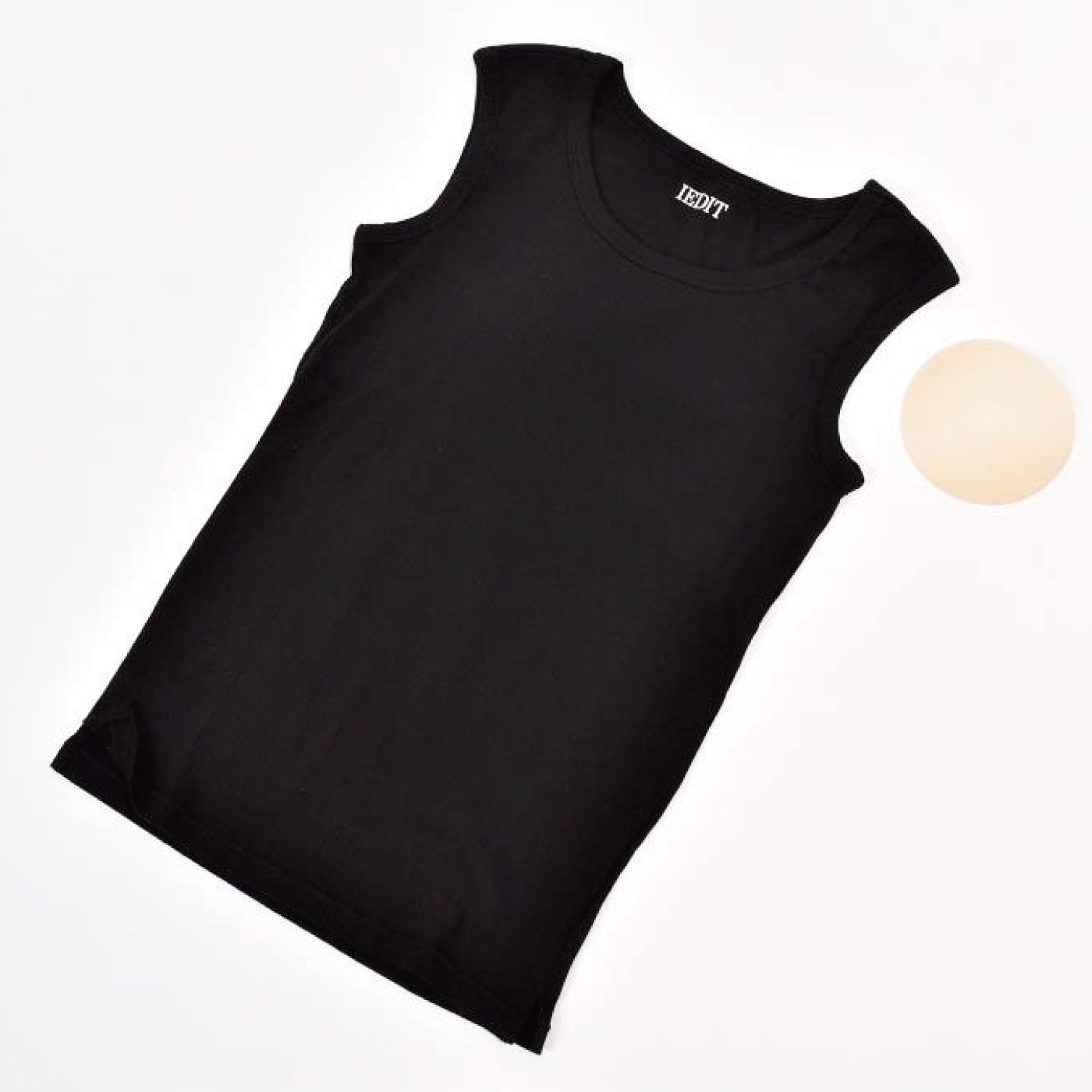 IEDIT[イディット] テレコ素材のカップ付きスリーブレストップス〈ブラック〉