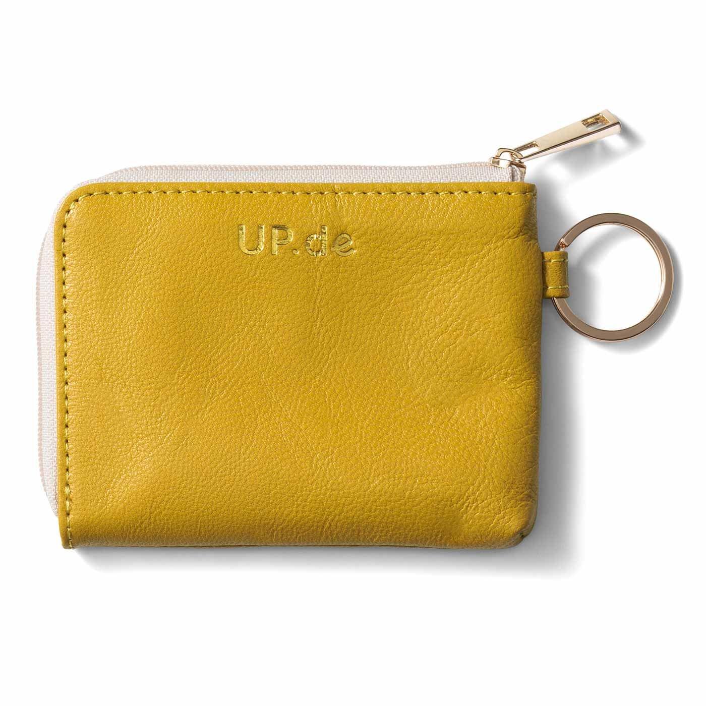 UP.de 金運を呼ぶ ハッピーイエローのやわらか本革ミニマムカード財布