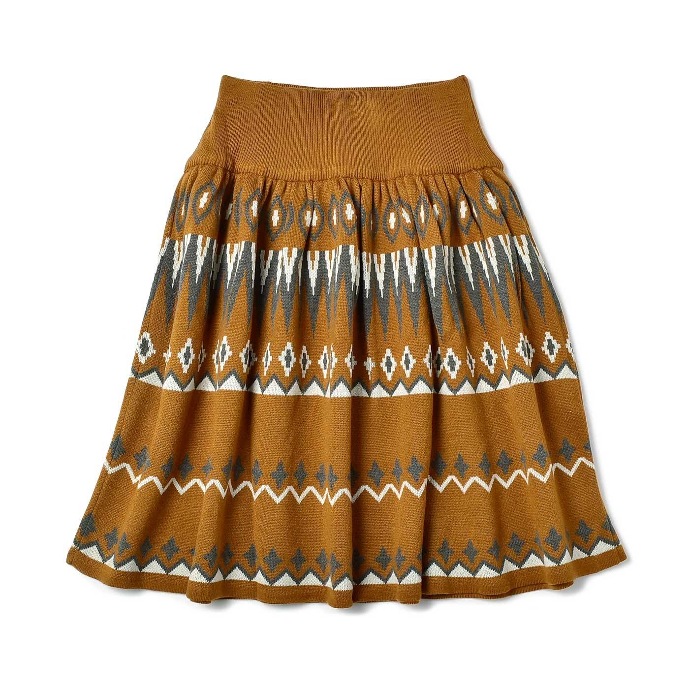 IEDIT[イディット] ジャカード柄のウエストリブニットスカート〈オーカー×グレー〉