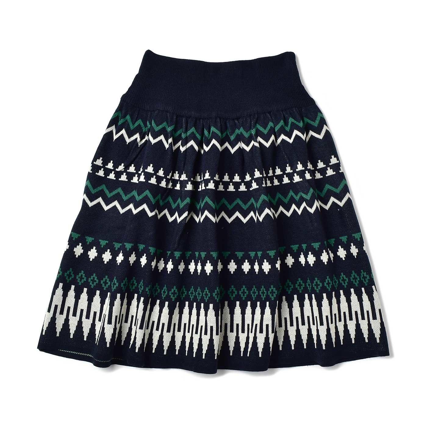 IEDIT[イディット] ジャカード柄のウエストリブニットスカート〈ネイビー×ホワイト〉