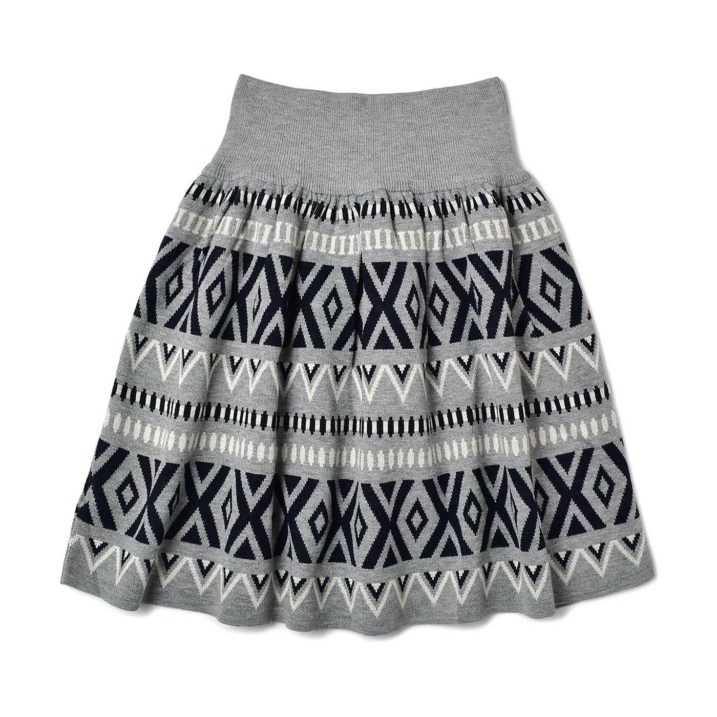 IEDIT[イディット] ジャカード柄のウエストリブニットスカート〈グレー×ブラック〉