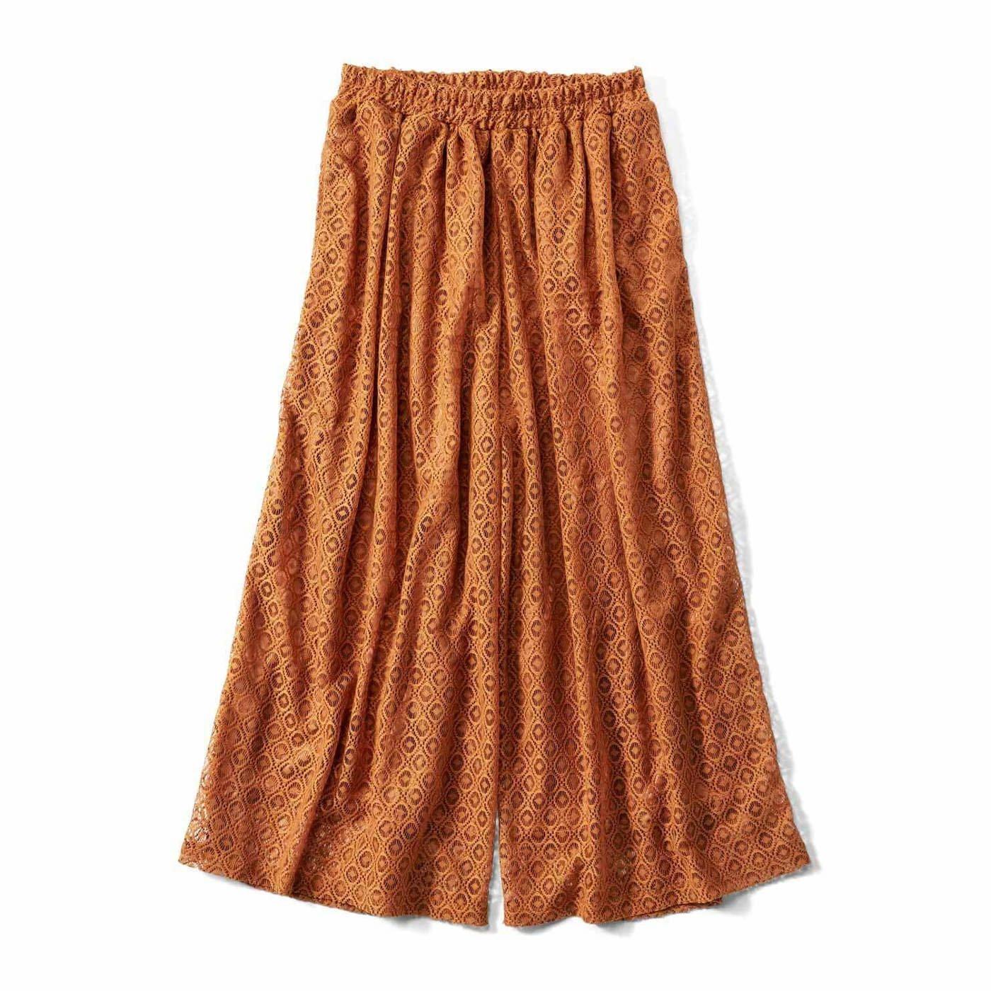 リブ イン コンフォート ひらりと軽やか ストレッチレースのスカート見えロングキュロット〈テラコッタブラウン〉