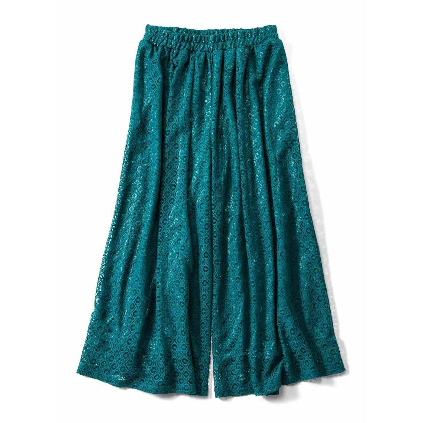 リブ イン コンフォート ひらりと軽やか ストレッチレースのスカート見えロングキュロット〈ピーコックグリーン〉