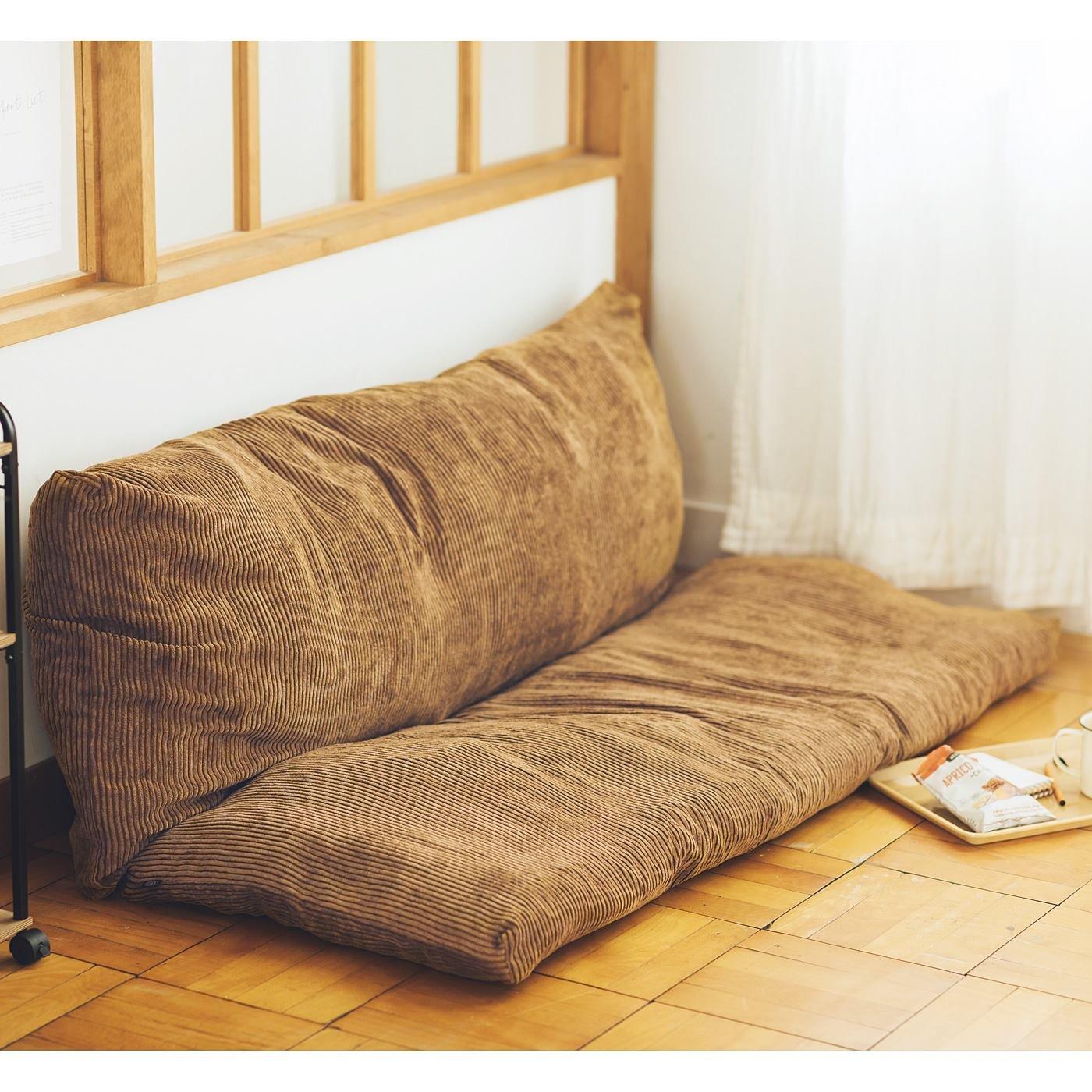 古着屋さんで見つけたような太畝(ふとうね)コーデュロイ布団収納マット〈ブラウンカーキ〉