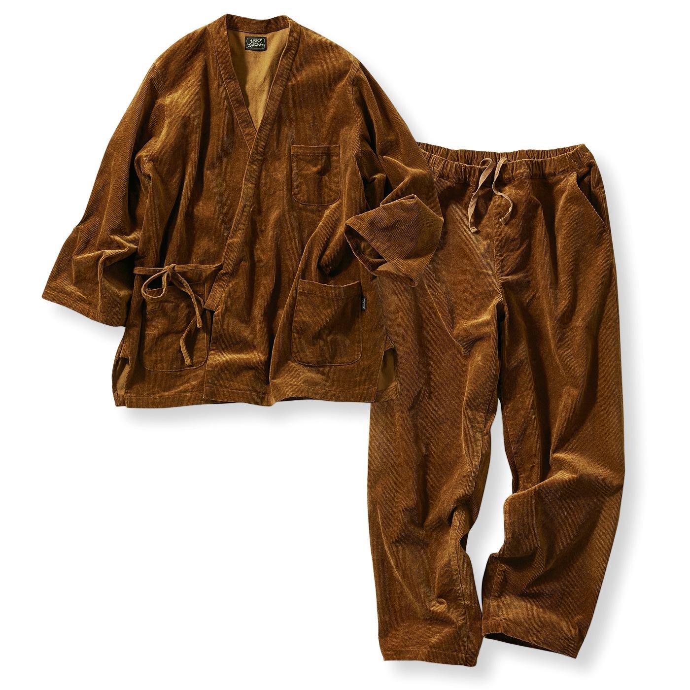 古着屋さんで見つけたような細畝(ほそうね)コーデュロイ作務衣〈珈琲ブラウン〉
