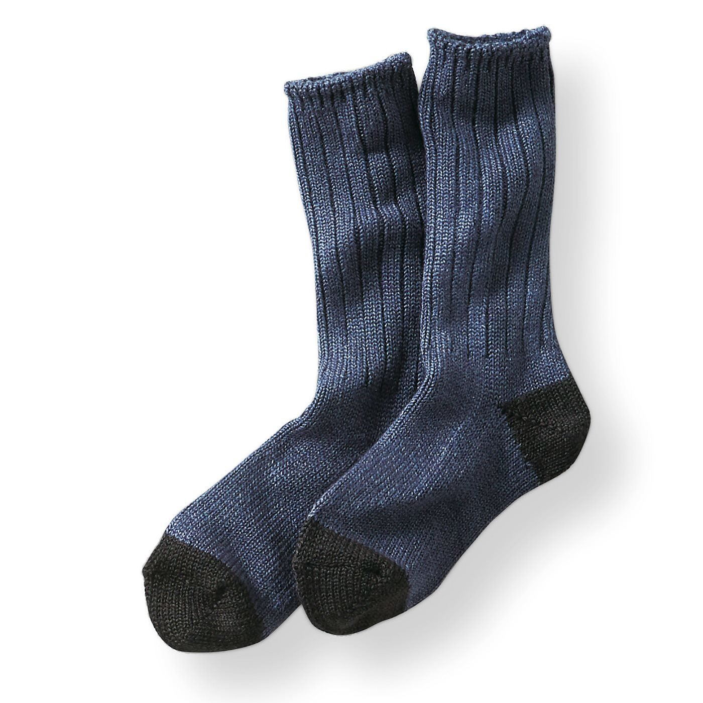 古着屋さんで見つけたようなウール混ざっくり靴下〈ブルー〉