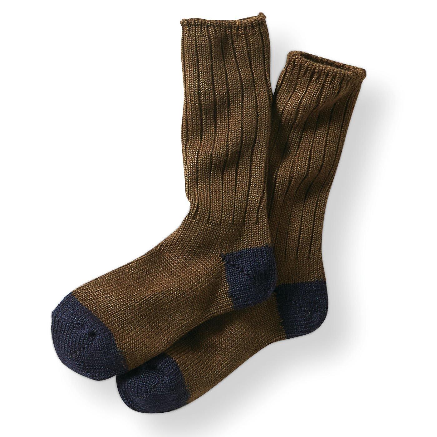 古着屋さんで見つけたようなウール混ざっくり靴下〈ブラウン〉