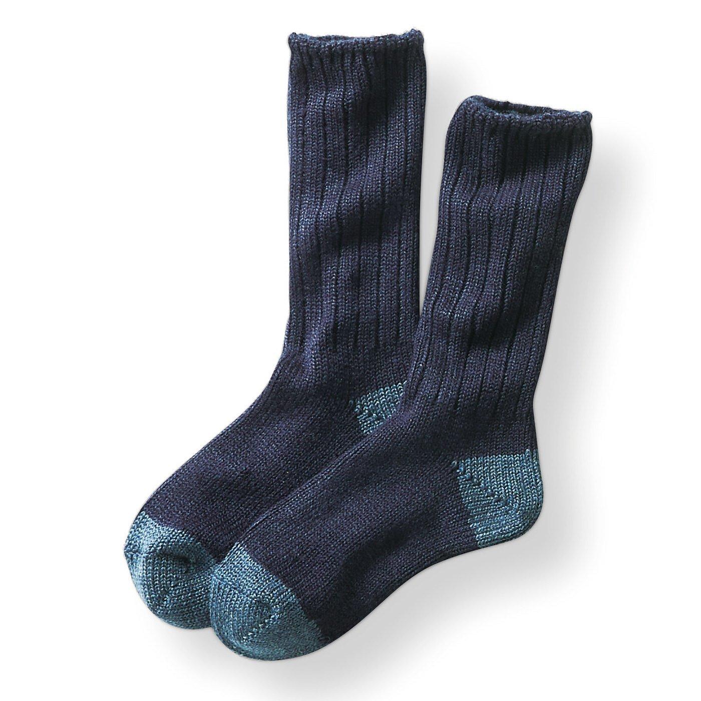 古着屋さんで見つけたようなウール混ざっくり靴下〈ネイビー〉