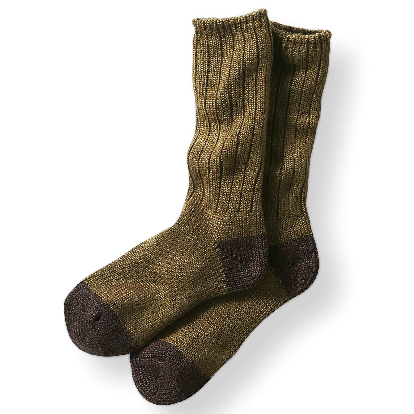 古着屋さんで見つけたようなウール混ざっくり靴下〈オリーブグリーン〉