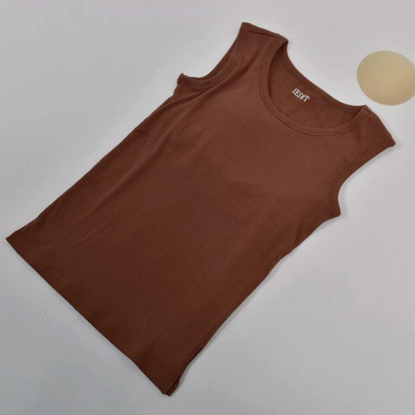 IEDIT[イディット] テレコ素材のカップ付きスリーブレストップス〈ブラウン〉