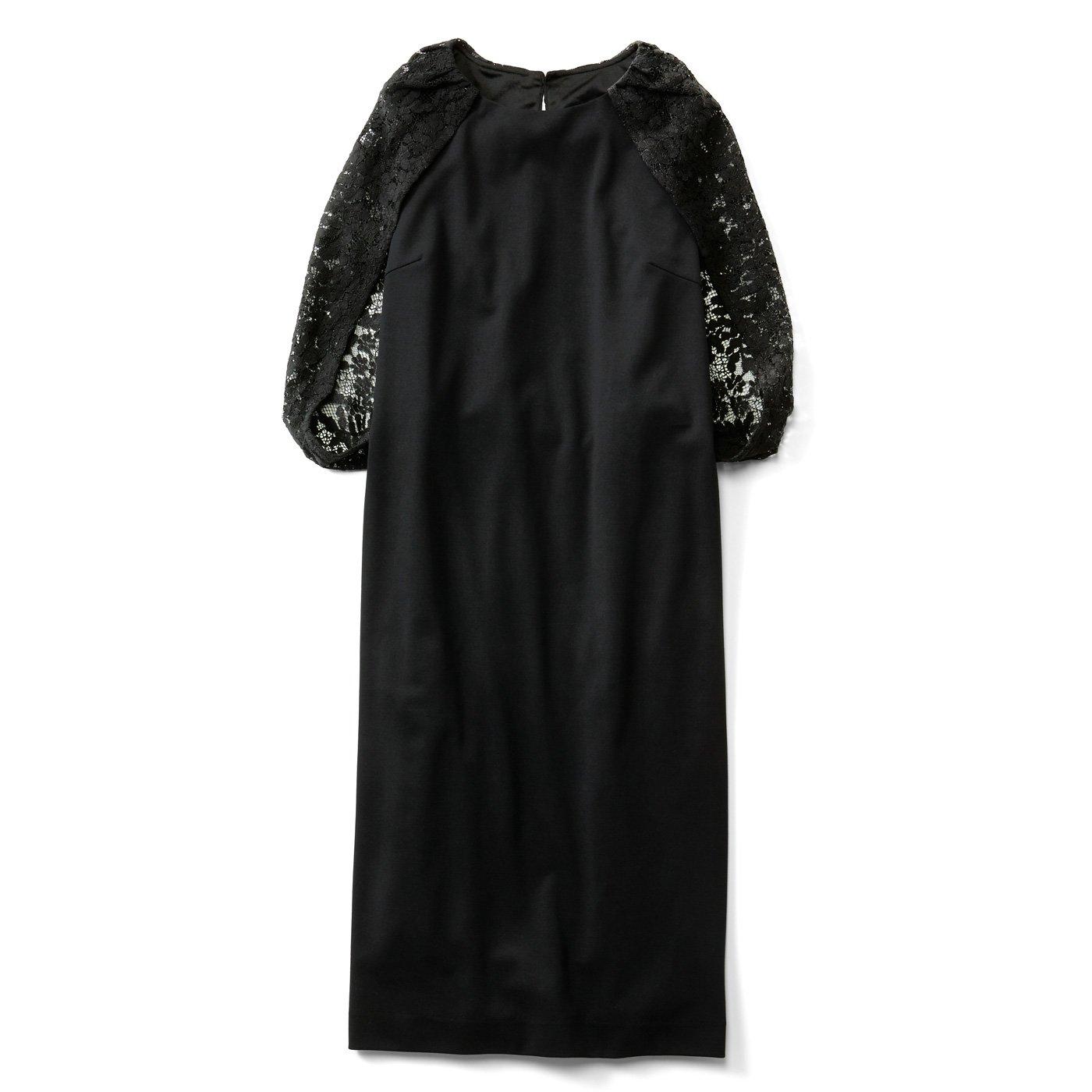 IEDIT[イディット]  レースケープ風ブラックドレス