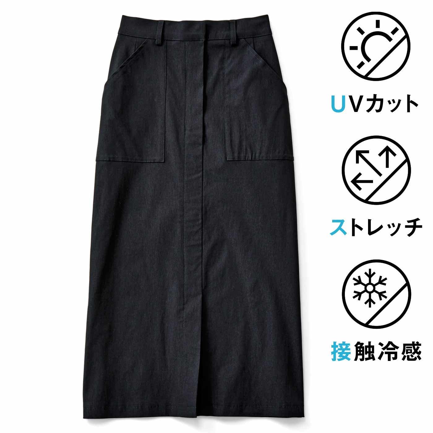 IEDIT[イディット] ストレッチ素材のIライン クレッシェンドカットスカート〈ブラック〉