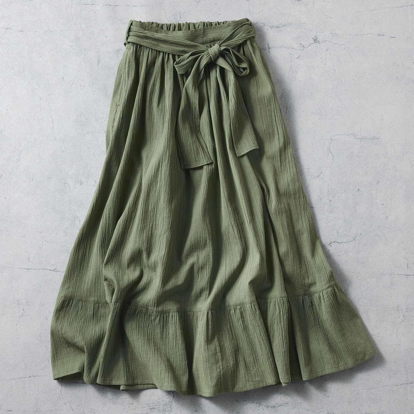 IEDIT[イディット] さらりとゆれる 楊柳(ようりゅう)ティアードロングスカート〈オリーブカーキ〉