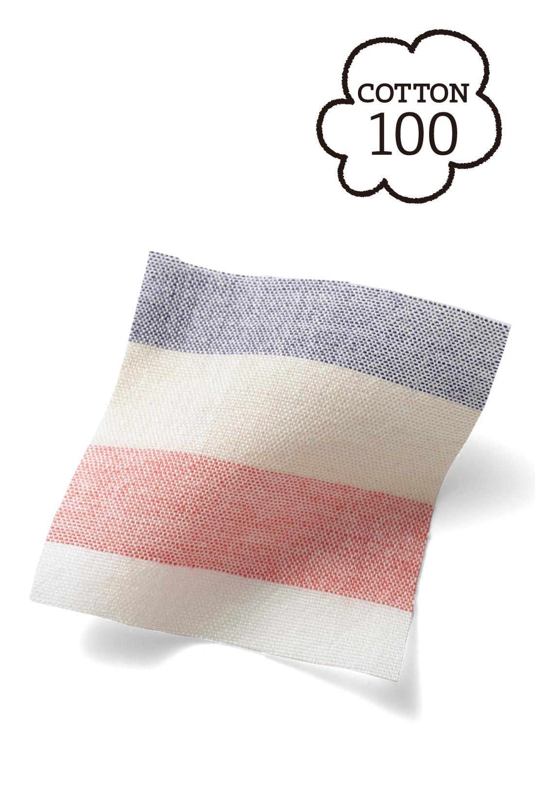 【コットン】 細番手の糸で織ることで軽さが加わって、風が通る着心地に。