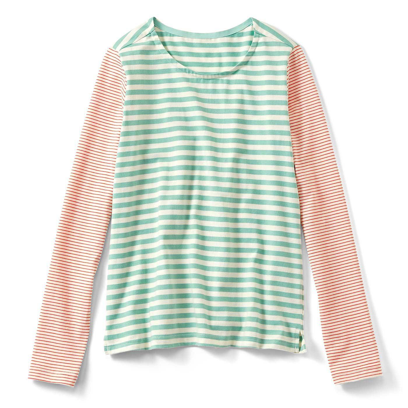 シンプルアクセントになる 配色ボーダーTシャツ〈ガーリー〉