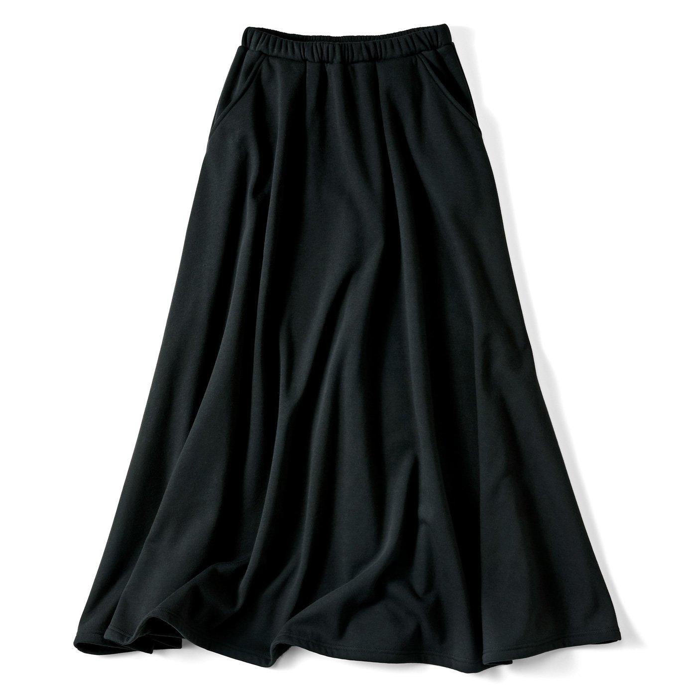 リブ イン コンフォート まるでこたつみたい 激ぬく裏シャギーのロングスカート〈ブラック〉