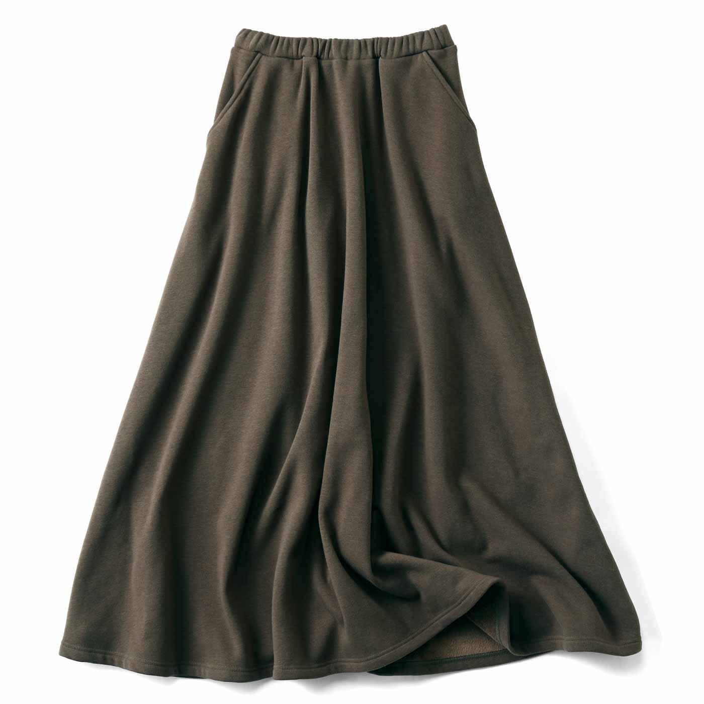 リブ イン コンフォート まるでこたつみたい 激ぬく裏シャギーのロングスカート〈カーキ〉