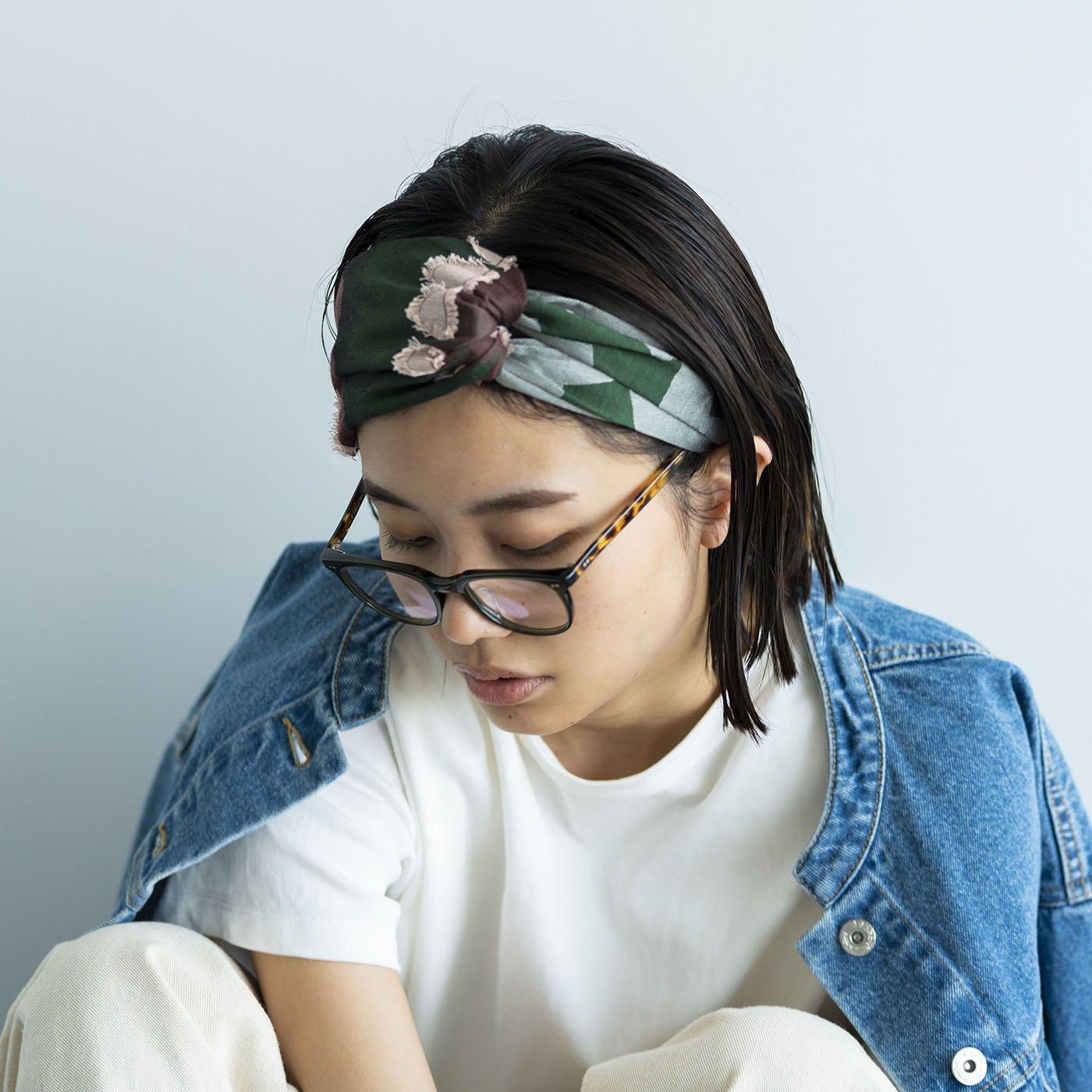 テキスタイルデザイナーと作った 播州ジャカード織のヘアターバン〈グリーン×ブラウン〉[ヘアバンド:日本製]