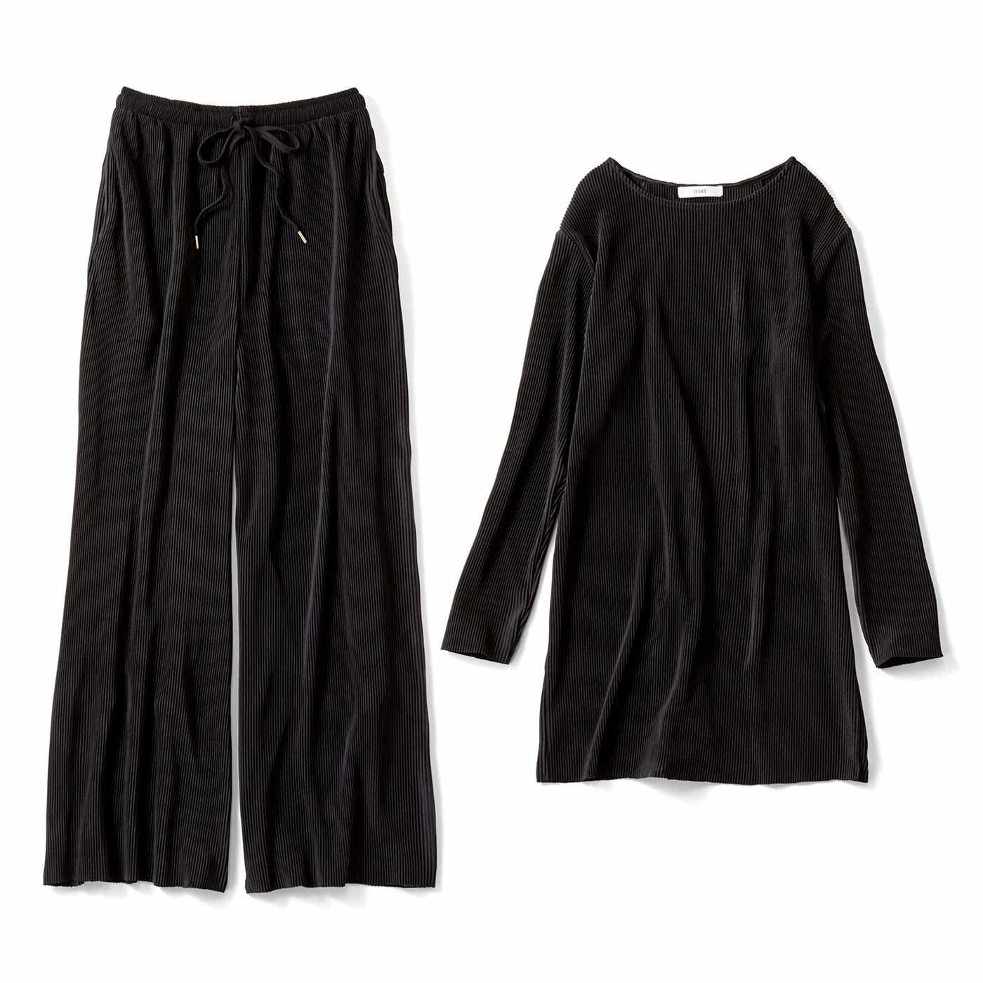 【3~10日でお届け】IEDIT[イディット] 着まわし便利な こなれプリーツカットソーセットアップ〈ブラック〉