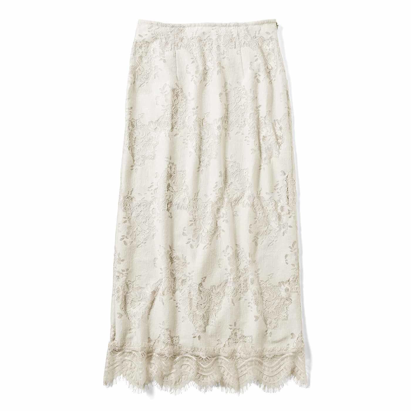 【3~10日でお届け】IEDIT[イディット] コーデがすっきり見える レースIラインスカート〈ライトグレージュ〉