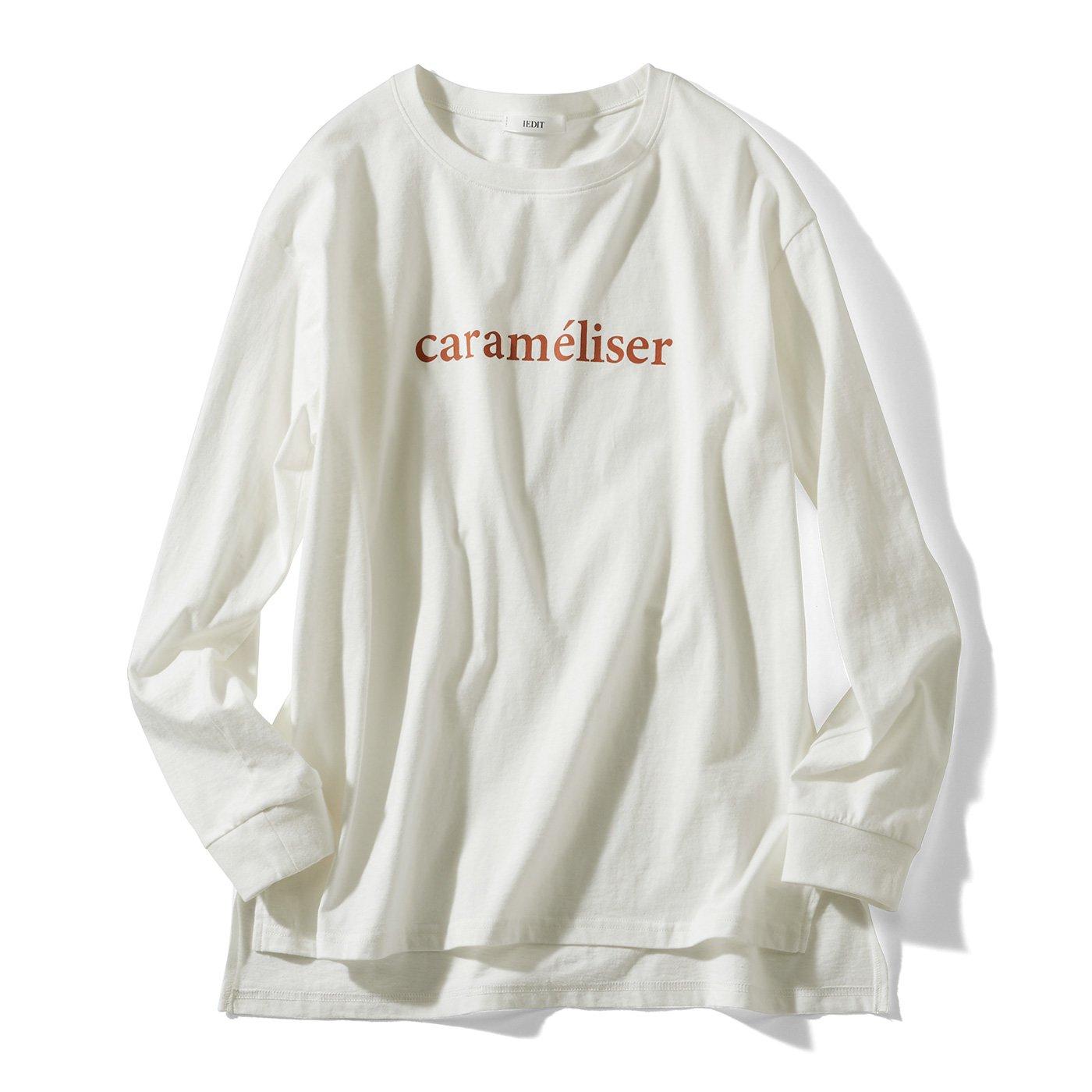【3~10日でお届け】牧野紗弥さん×IEDIT[イディット] 気軽におそろいを楽しめる 吸汗速乾加工のリサイクルコットンロゴTシャツ〈ホワイト〉