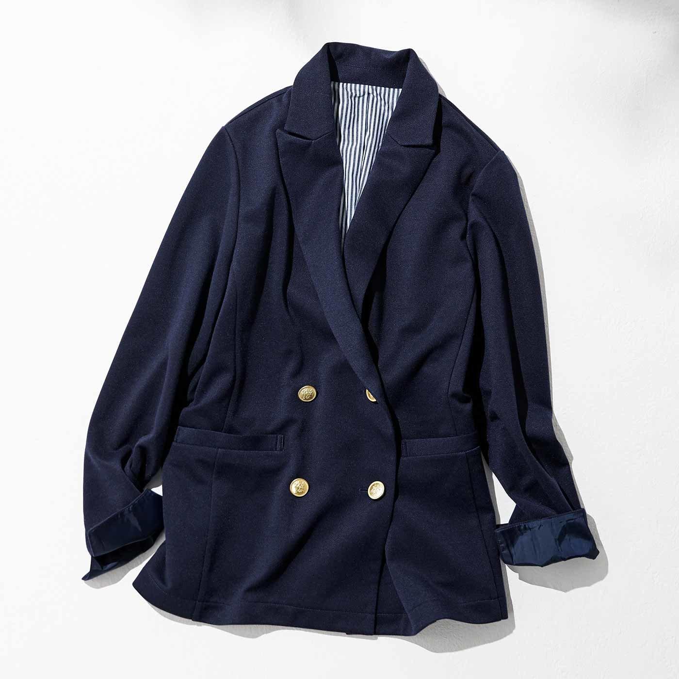 【3~10日でお届け】IEDIT[イディット] すっきりこなれ見え カットソー素材の紺ブレジャケット