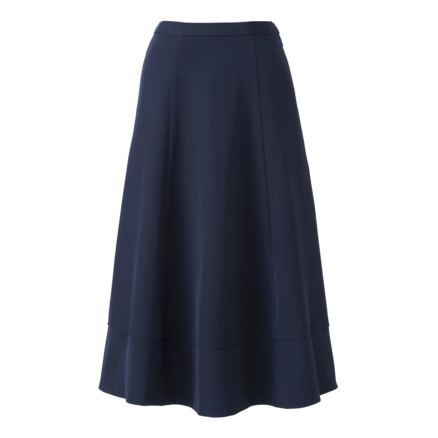 【3~10日でお届け】IEDIT[イディット] たっぷりフレアーがドラマティックなミドル丈スカート〈ネイビー〉