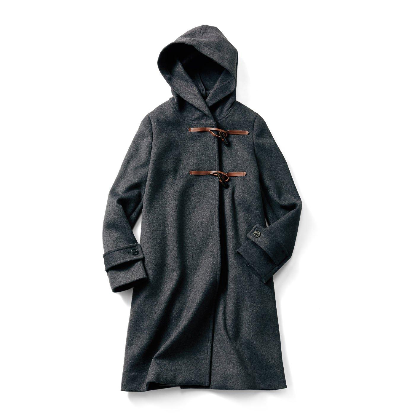 IEDIT ふわりと広がって細見え シックなフーデッドコート〈チャコールグレー〉