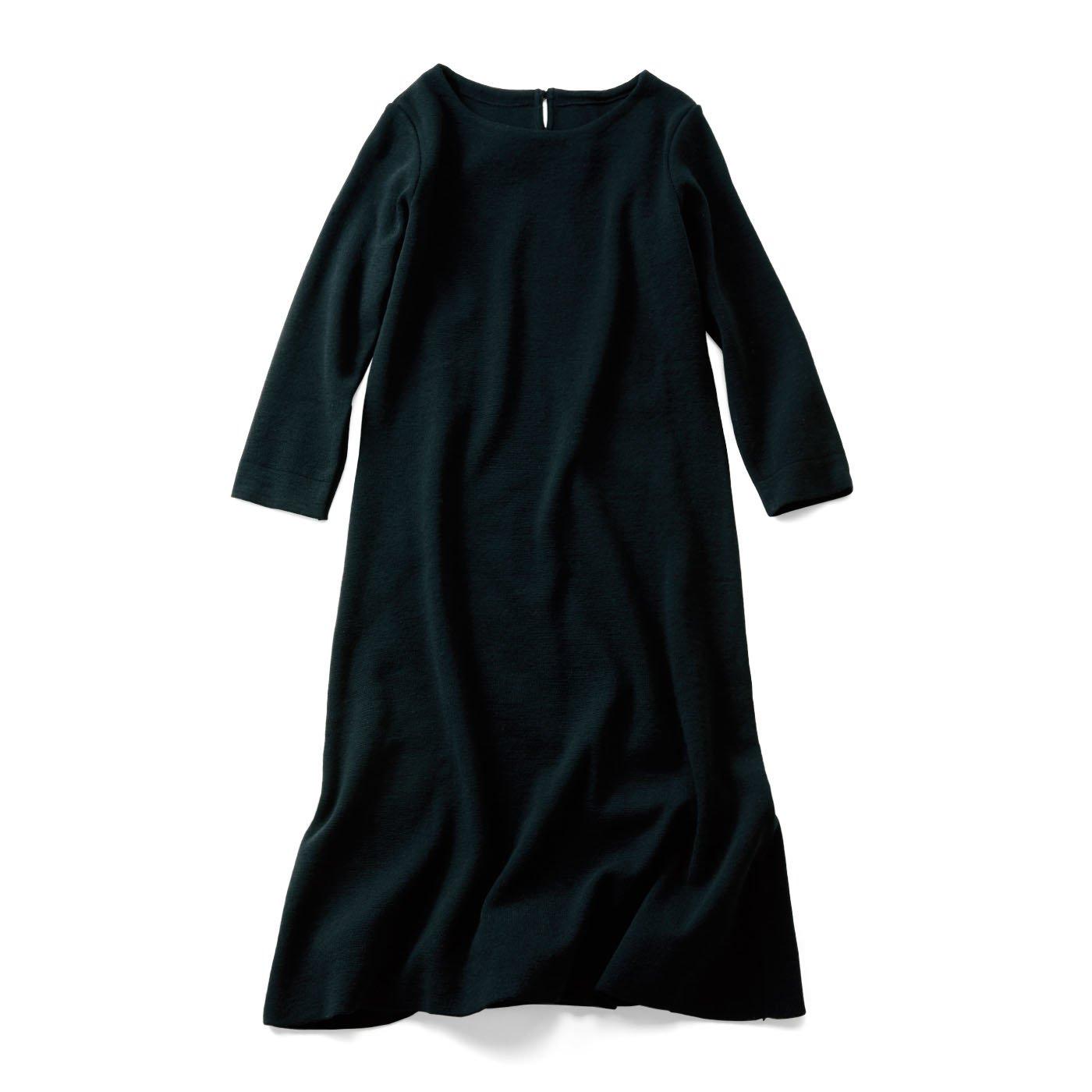 IEDIT 国産で丁寧に仕立てたハーフミラノ編みAラインワンピース〈ブラック〉