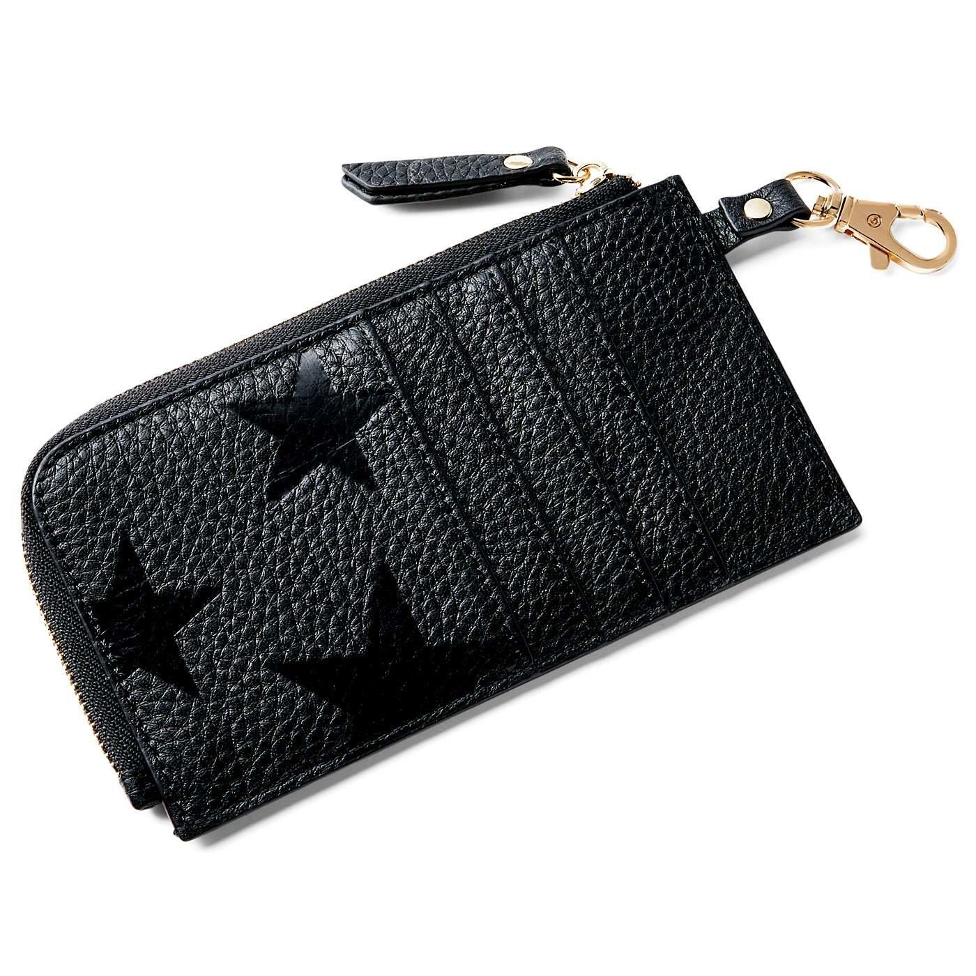 IEDIT[イディット] 本革が大人にうれしい スターエンボス加工のスリムミニ財布〈ブラック〉