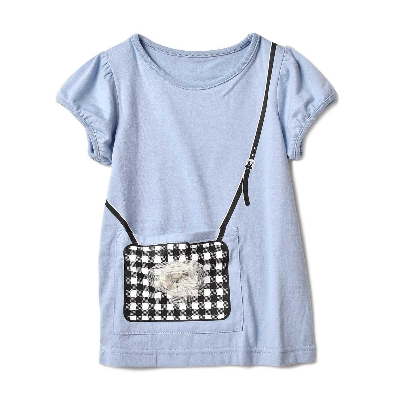 いっしょにお出かけ♪ ポケットになったポシェットプリントTシャツ〈ライトブルー〉