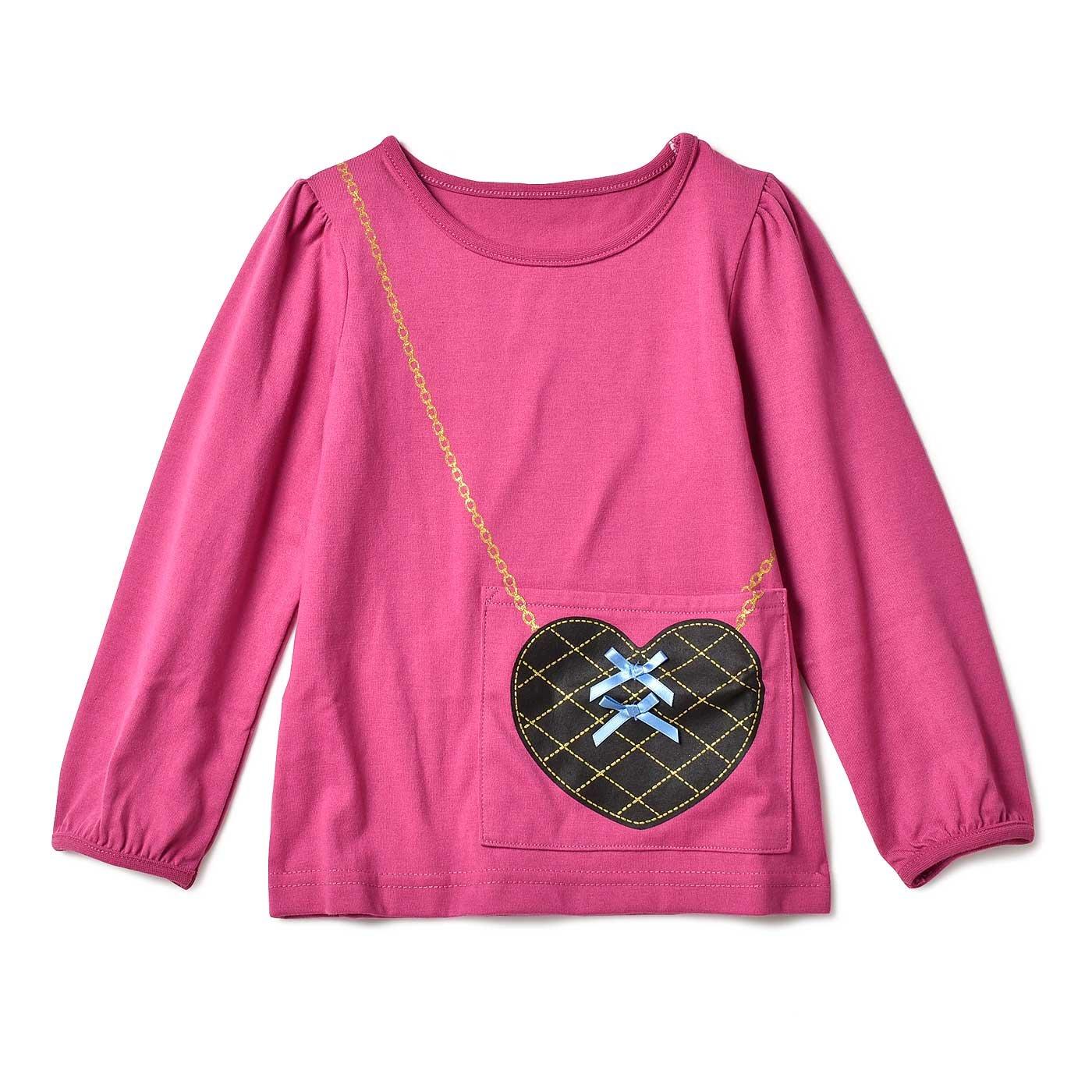 いっしょにお出かけ♪ ポケットになったポシェットプリントTシャツ〈ピンク〉