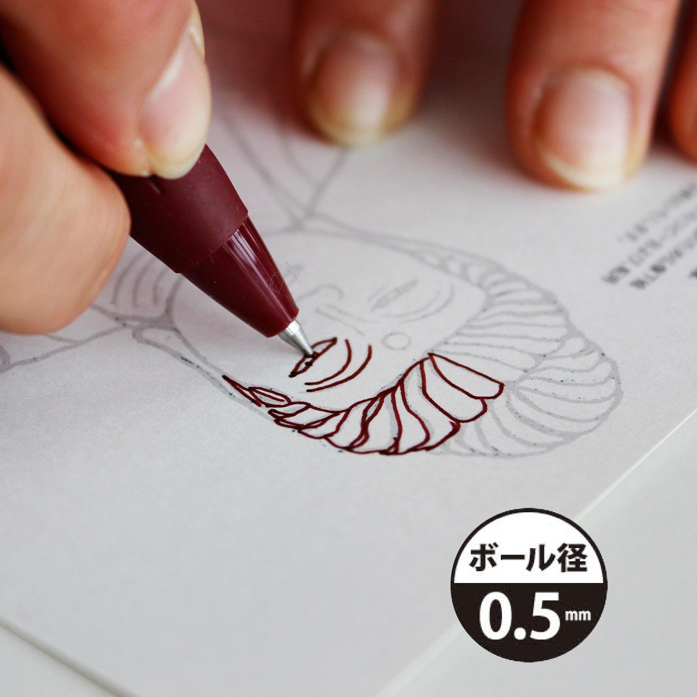 0.5mmタイプは、細かい線もスムーズに書けます。