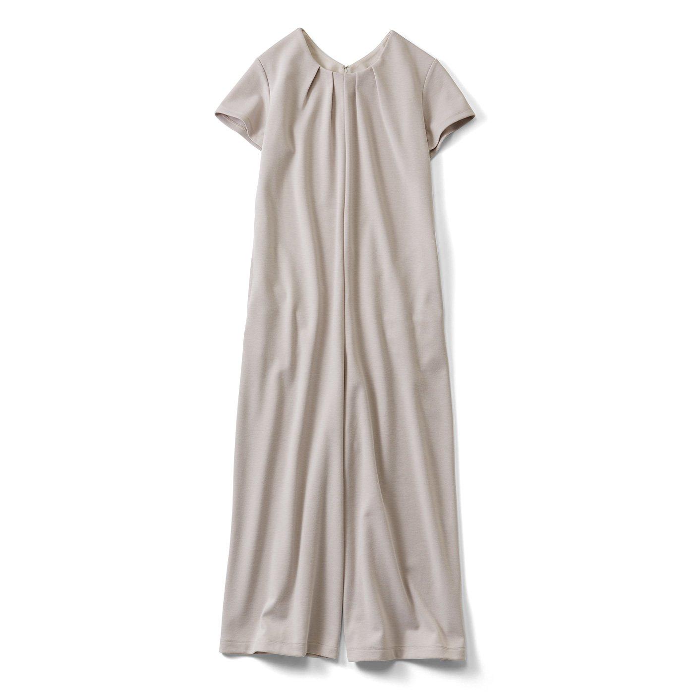 IEDIT[イディット] 大人にうれしい ワンピース感覚で着られる カットソーオールインワン〈グレイッシュベージュ〉