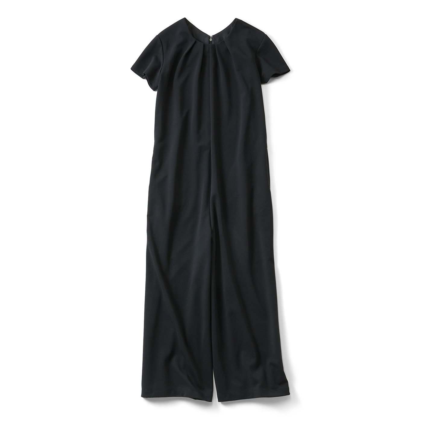 IEDIT[イディット] 大人にうれしい ワンピース感覚で着られる カットソーオールインワン〈ブラック〉