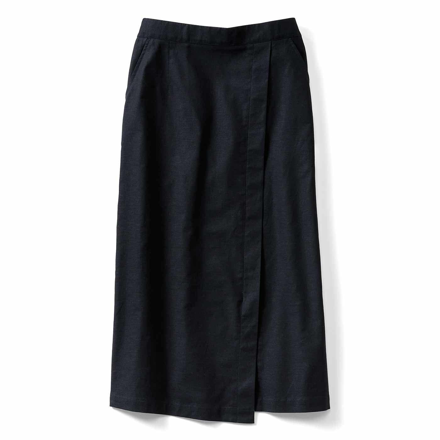 IEDIT[イディット] コーディネイトをすっきり見せてくれる ストレッチ麻混素材の切り替えIラインスカート〈ブラック〉