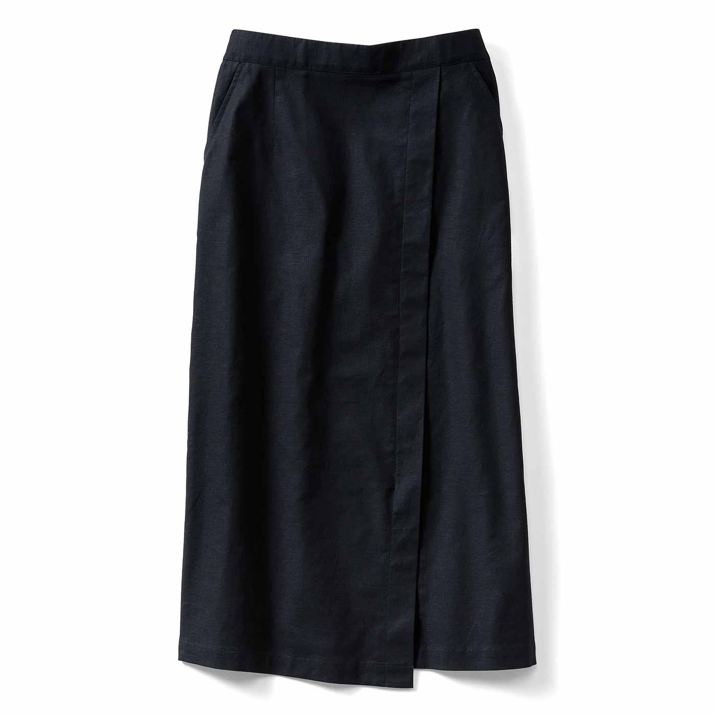 ストレッチ麻混Iラインスカート〈ブラック〉IE
