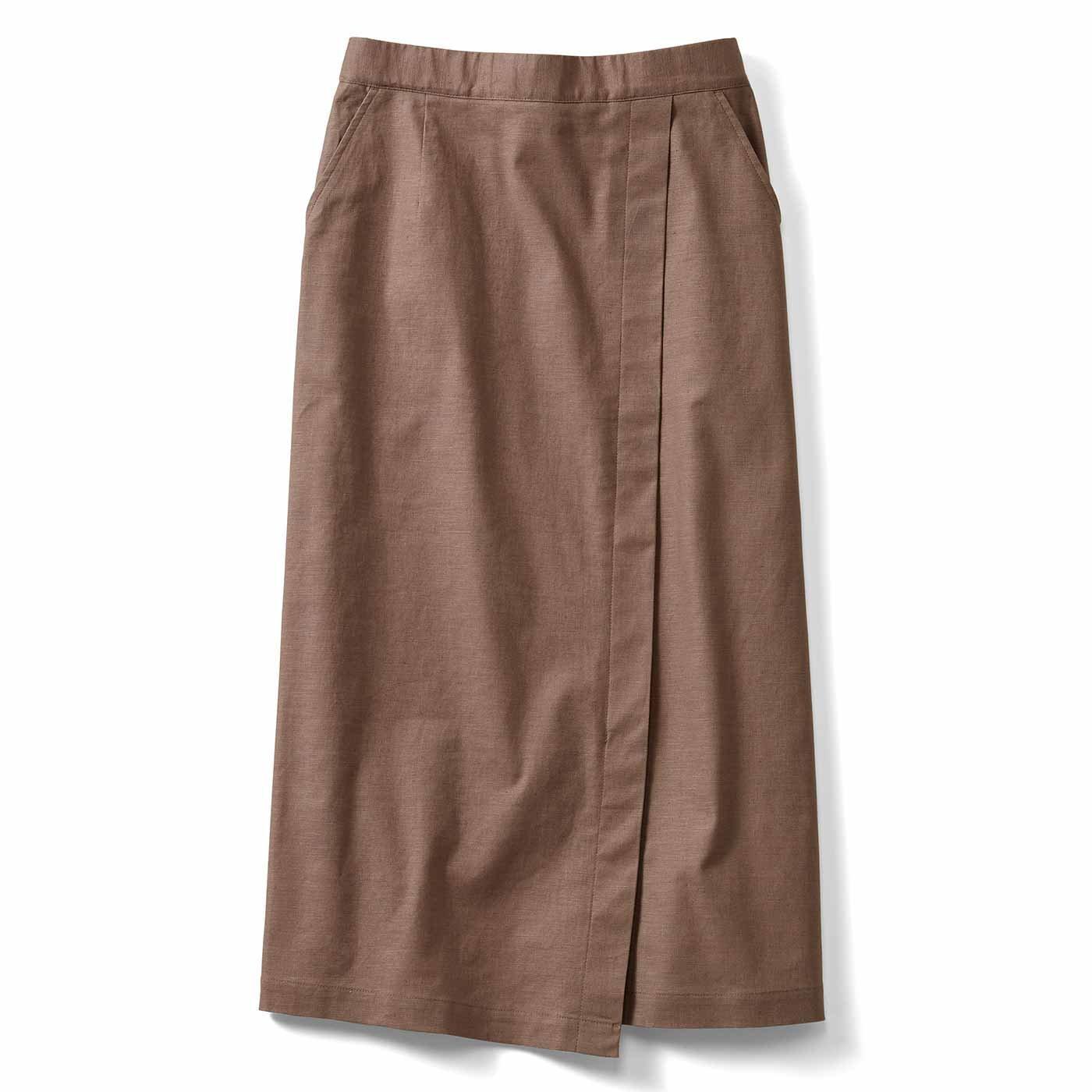 IEDIT[イディット] コーディネイトをすっきり見せてくれる ストレッチ麻混素材の切り替えIラインスカート〈ベージュ〉